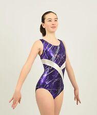 Gymnastics Tank Leotard size Xsmall adult purple/silver foil print