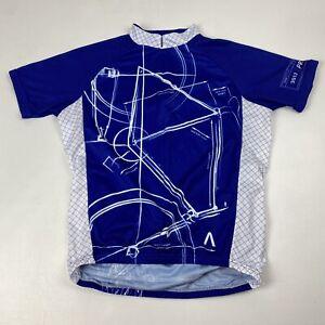 Primal Cycling Jersey Blueprint 2013 Men's Medium Blue White SS Full Zip