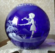 Mary Gregory: blue ball vase decorated with a white scene