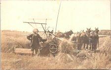"""RPPC Farm Scene Jim Temple w/ """"Light Running"""" John Deere Brand Thresher 1910s"""