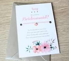 Will You Be My Bridesmaid, Maid of Honour, Flower Girl Wish Bracelet Invitation
