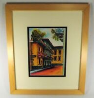 VTG. Watercolor Old Spanish Quarter Panamanian Artist Signed Frame Hand Painted