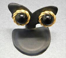 Kenneth Jay Lane - Black Lucite Oval Shape Gold Tone Ladies Earrings