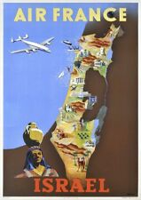 Air France   Israel   Vintage Travel Poster   A1, A2, A3