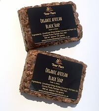 Organic African Black Soap X 2 Bars-200g (Made in Ghana)