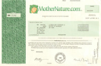 MotherNature.com stock certificate share > now DrVita.com vitamins website