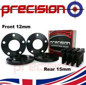 Black Staggered Wheel Spacers 12mm and 15mm + Bolts for BMW 3 Series Alloy Wheel
