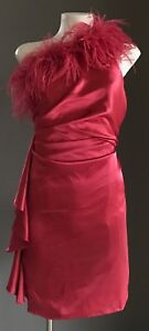 AJOY Cherry Red One Shoulder Feather Trim Satin Look Mini Dress Size 8