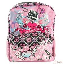 """Pink Glamour 16"""" Large Hearts Roses Graffiti Backpack"""