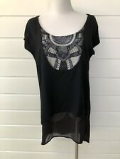 KATIES Black Short Sleeve Longline Tunic Top With Sequinned Bib - Size 12
