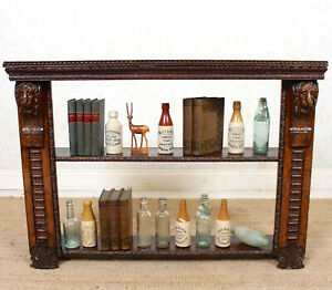 Antique Oak Open Bookcase Victorian 19th Century Solid Carved