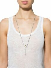 Rachel Zoe Spike Pendant Necklace Designer Gold Silver Tone Logo Unique Long