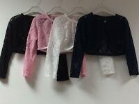 Girls Long Sleeve Kids Lace Bolero Shrug Diamond Button Wedding Cardigan 4-13 Y