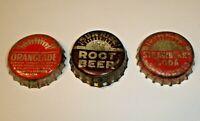 Vintage Lot 3 Sunrise Cork Lined Soda Bottle Caps Strawberry, Orange, Root Beer