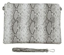 aba3f53772b New Grey Snake Print Large Clutch Bag Chain Shoulder Strap Evening Bags  LilyRosa