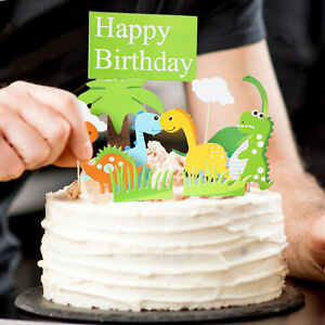 Dinosaur Cake Cupcake Topper kids birthday Theme party Decoration Standup