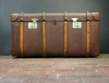 Immaculate Vintage English Banded Coffee Table Trunk Chest