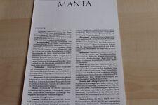 130598) Opel Manta B - technische Daten & Ausstattungen - Prospekt 09/1987