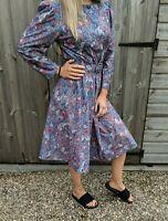 M&S St Michael 12 Floral Midi Dress Women's Vintage 80s Belted Colourful A-Line