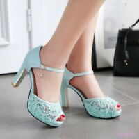 Women's High heels shoes Open toe Buckle Ankle strap Lace Sandals Evening party