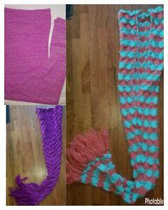 Girl's Mermaid Tail Wearable Blanket Crochet Medium Knit Unbranded One Size
