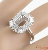 Baguette Round Diamond 0.85ct 18k Gold 7x9mm Emerald Cut Semi Mount Ring Setting