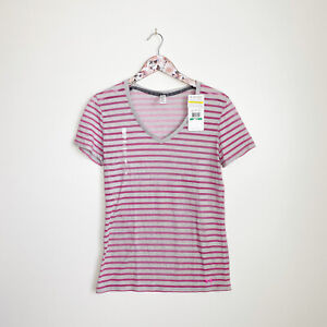 NWT UNDER ARMOUR Charged Cotton Pink Stripes V-Neck Tee Shirt! S Small Women's