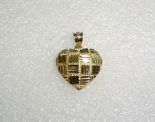 BASKET WEAVE HEART PENDANT/CHARM IN 14K YELLOW GOLD N238-T