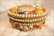 Vintage Grand Coffret en Coquillages Souvenir Bord de Mer LUC SUR MER Calvados