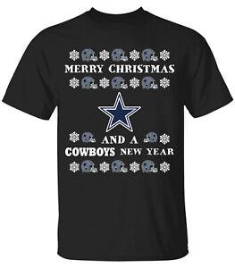 Men's 2020 Ugly Merry Christmas and Dallas Cowboys Black T-shirt M-3XL