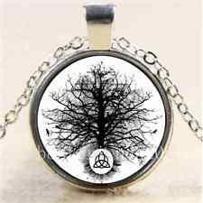 Triquetra Tree of Life Cabochon Glass Tibet Silver Chain Pendant Necklace