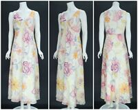 Womens Laura Ashley Long Maxi Dress Pink Beige Cotton Silk Blend Floral 12UK 8US