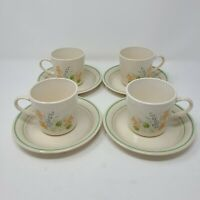 Cornerstone Glenora Pattern by Corning Set of 4 Coffee Cups and Saucers