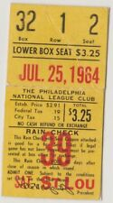 "PHILADELPHIA PHILLIES ""PHOLD"" TICKET STUB VS.ST. LOUIS CARDINALS JULY 25, 1964"