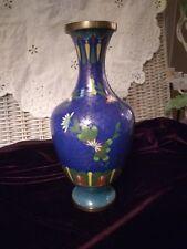 "Early Vintage Chinese Cloisonne Vase. Deep Cobalt & Med. Turquoise, 9 3/4"" T."