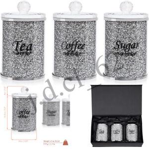 XXL CRUSHED DIAMOND CRYSTAL TEA COFFEE SUGAR CANISTERS JARS SILVER