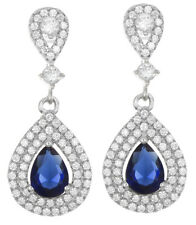Cz Tear Drop Hanging Womens Earrings 925 Sterling Silver White & Sapphire