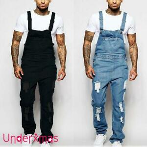 UK Mens Ripped Denim Overalls Slim Fit Jeans Dungarees Bib Jumpsuit Comfy Pants
