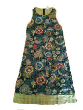 New OILILY WOMENS SLEEVELESS LONG COTTON FLORAL DRESS Size 38 PLAID BACK MUST SE