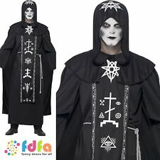 DARK ARTS RITUAL BLACK ROBE VOODOO HALLOWEEN One Size Mens Fancy Dress Costume