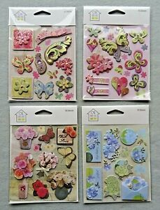 4 Packs of Crafts House 3D Embellishments Card Toppers Scrapbooking Motifs