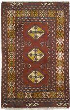 2X3 Vintage Red Tribal Design Wool Oriental Rug Entryway Bathroom Carpet 1'8X2'9