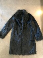Black Faux Fur Trench Coat Fits Like Ladies Small Unbranded Made In China