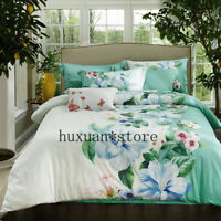 100%Cotton Printed Colorful Garden Bedding set Silky Soft Duvet Cover Bed Sheet