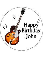 """7.5"""" Guitar Personalised PREMIUM RICE PAPER Edible Cake Topper"""