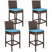 Patio Yard Comfortable Wicker Bar stools 4 Pcs Rattan Weave W/ Outdoor Cushions