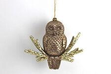 GISELA GRAHAM CHRISTMAS ACRYLIC COPPER / GOLD GLITTER OWL ON TWIG DECORATION