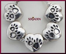 5 Paw Heart Antique Silver 11 x 12 w/ 5 mm Hole Fits European Style Jewelry S127