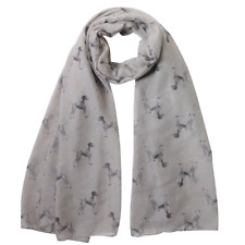 More details for german shorthaired pointer dog print ladies scarf grey & taupe fast dispatch