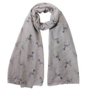 GERMAN SHORTHAIRED POINTER DOG PRINT LADIES SCARF GREY & TAUPE FAST DISPATCH